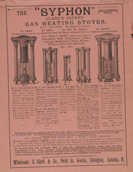 Advert For Clark's Syphon Gas Heating Stoves